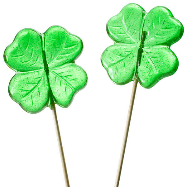 Green Shamrock 4 Leaf Clover Lollipops 12 Piece Bag Candy Warehouse