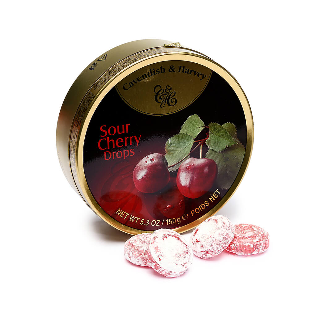 Cavendish Harvey Hard Candy Drops Tins Sour Cherry 12 Piece Box Candy Warehouse